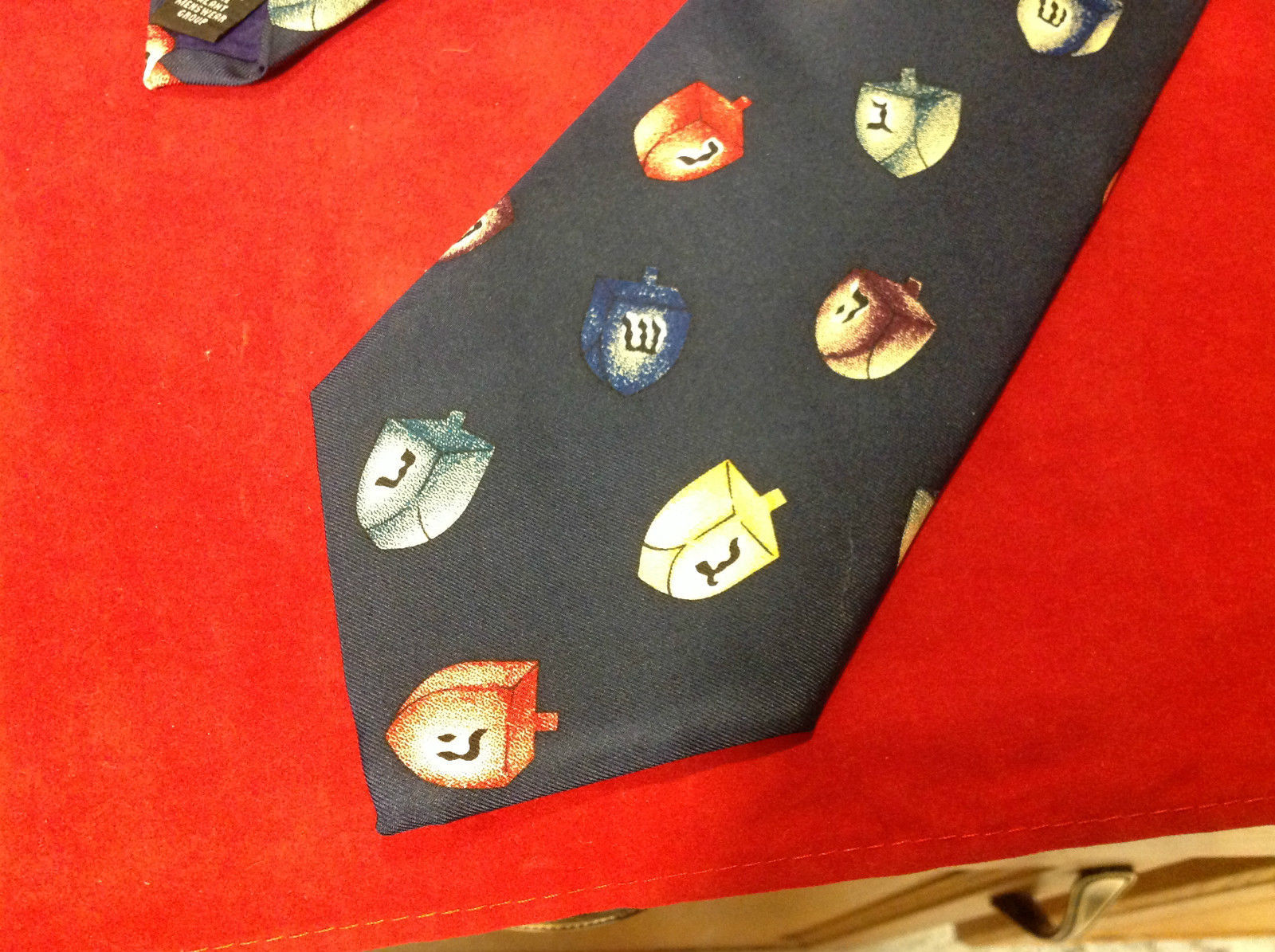Save the Children Mens Tie Royal with mult-colored dreidels 60 Inches