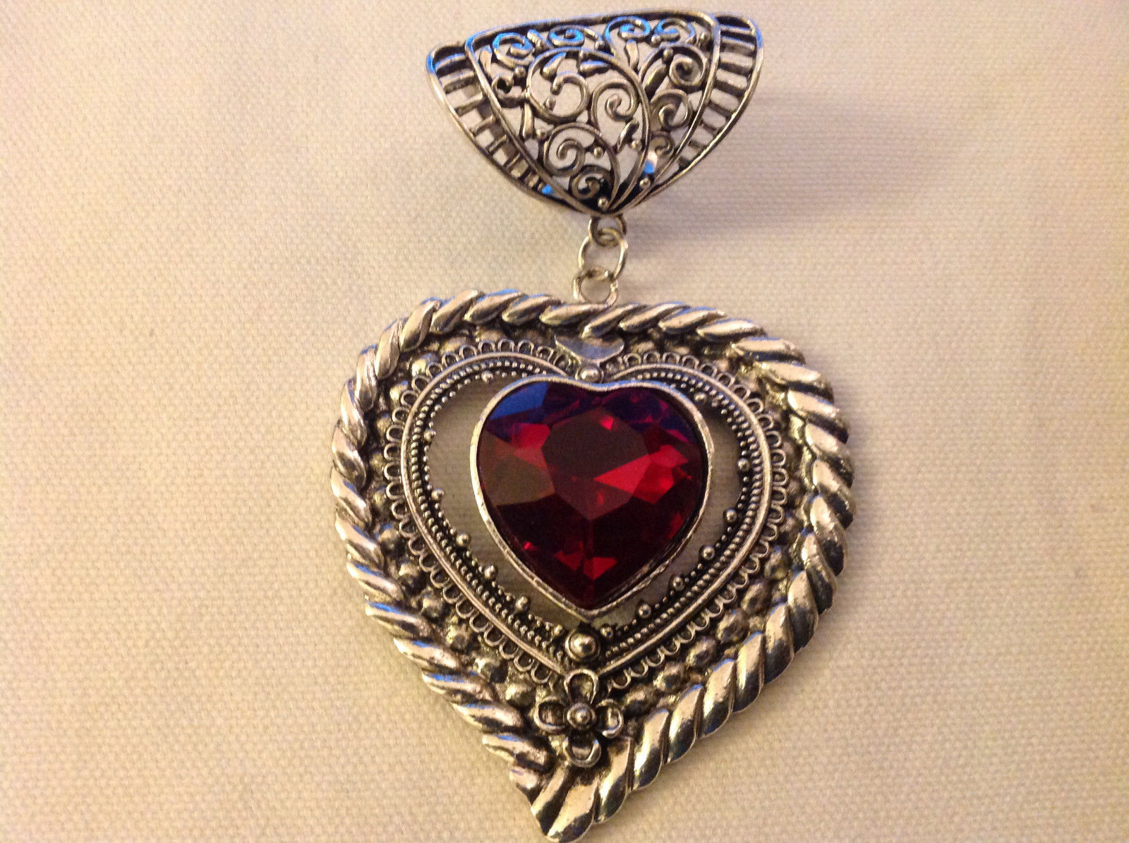 Scarf Pendant Silver Tone Heart Shaped with Dark Red Heart Shaped Crystal