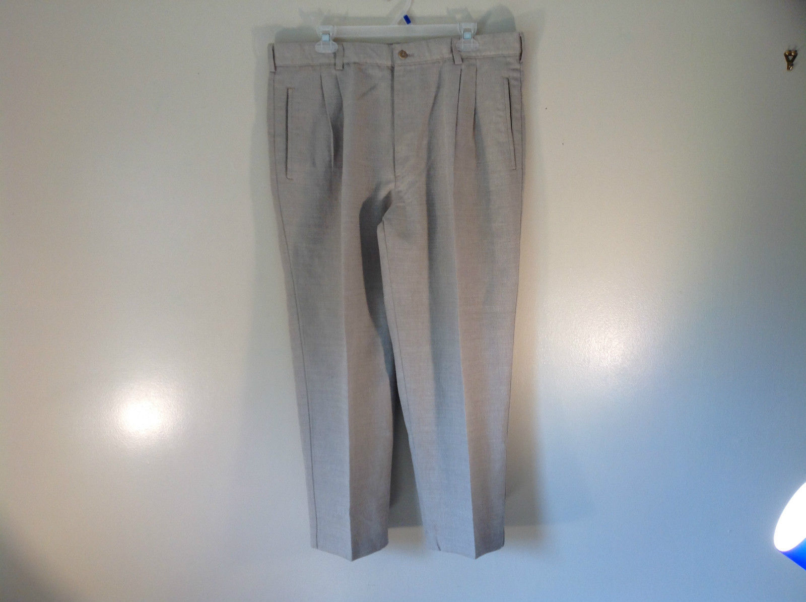 Savane No Wrinkles Pleated Front Beige Dress Pants Linen Cotton Blend Size 12