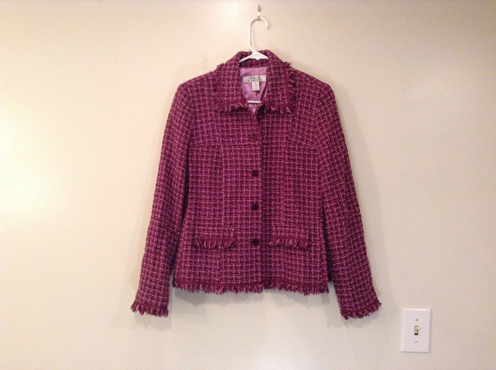 Savvy by Rafael Pink Violet Fully Lined Jacket Size 10 Faux Pockets