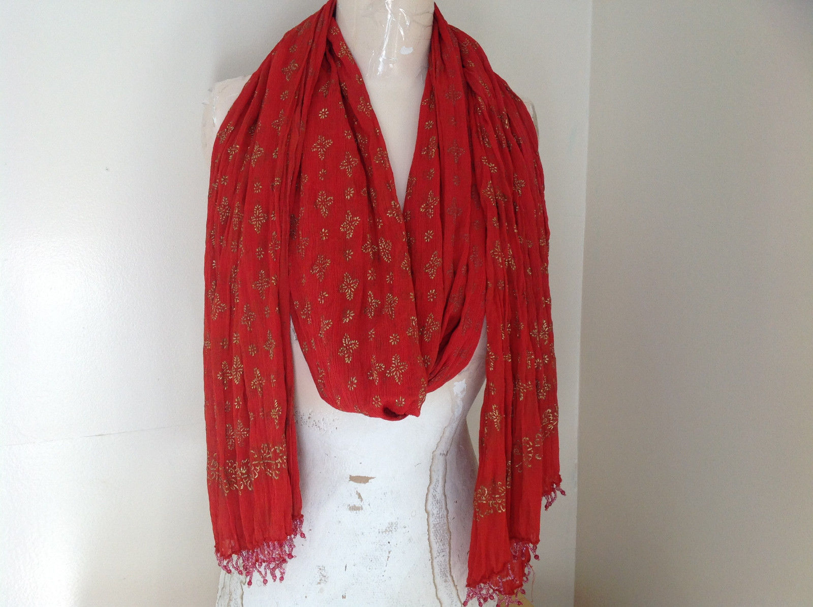 Scrunched Style Burnt  Orange Real Gold Stamped Embossed Beaded Scarf