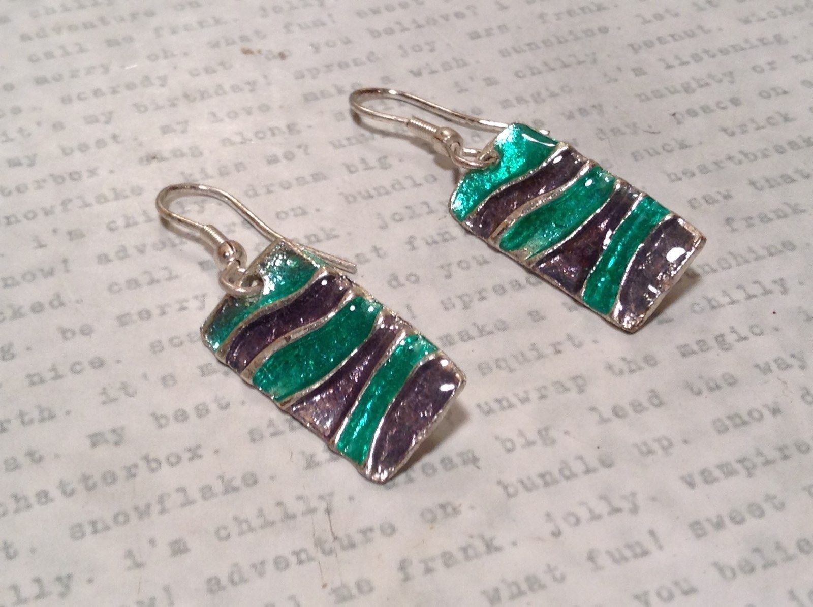 Sea Green and Gray Glossy Finish Pewter and Enamel Handcrafted Earrings