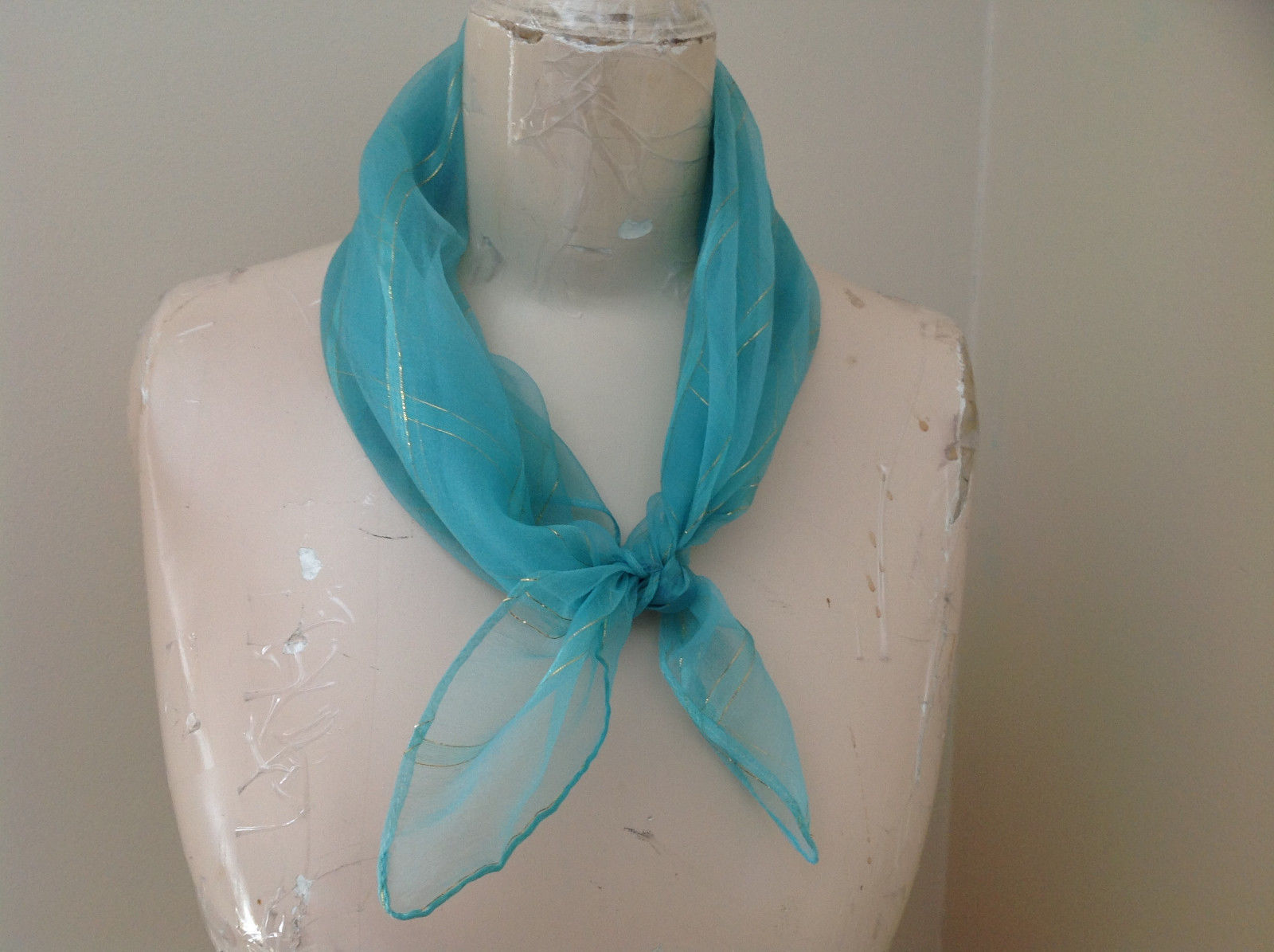 Sea Green with Gold Stripe Line Pattern Square Scarf Light and Sheer Material