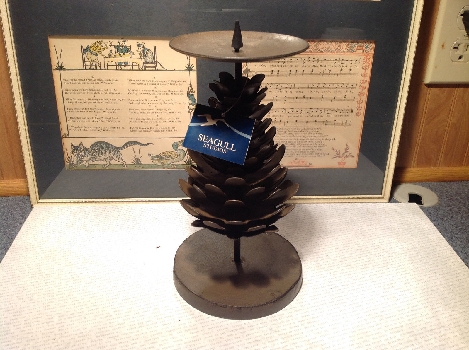Seagull Studios Metal Pine Cone Tree Candle Holder