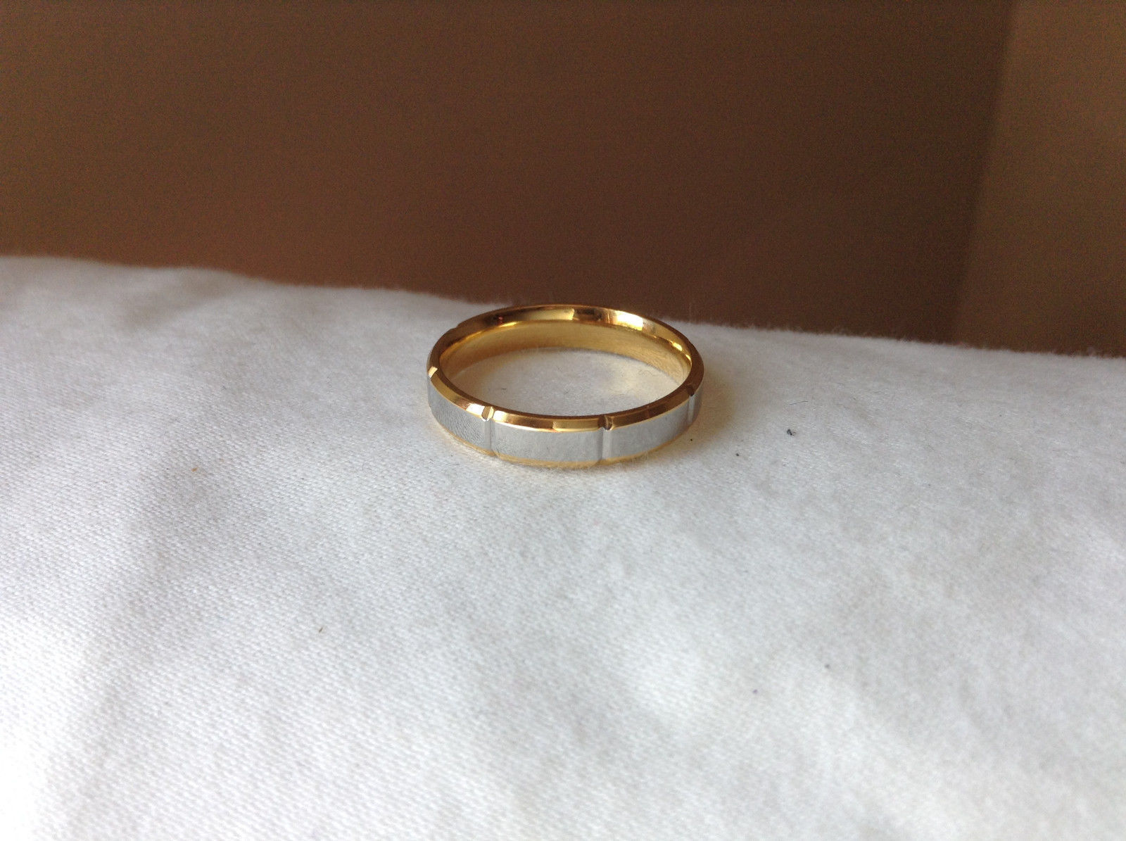 Segmented Design Silver and Gold Plated Ring Size 7,8