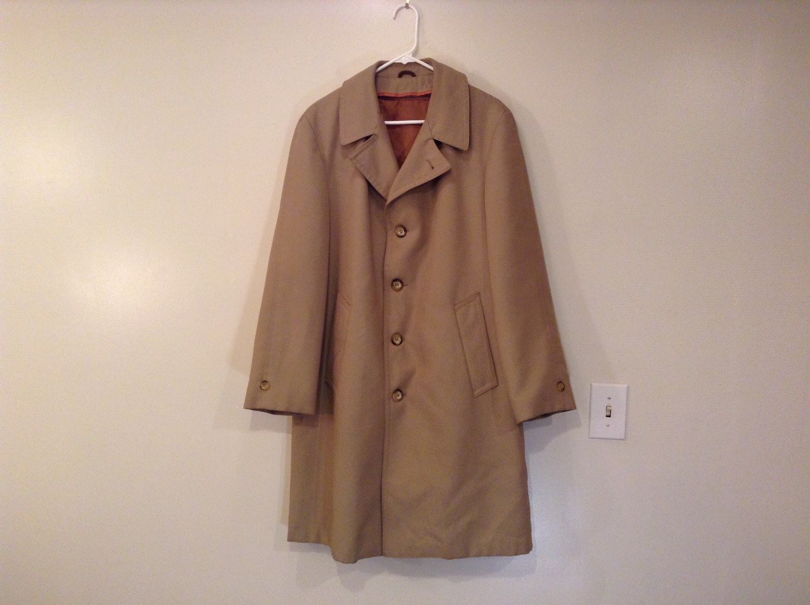 Sears The Mens Store Light Brown Two Layer Vintage Winter Coat Size 40 Reg