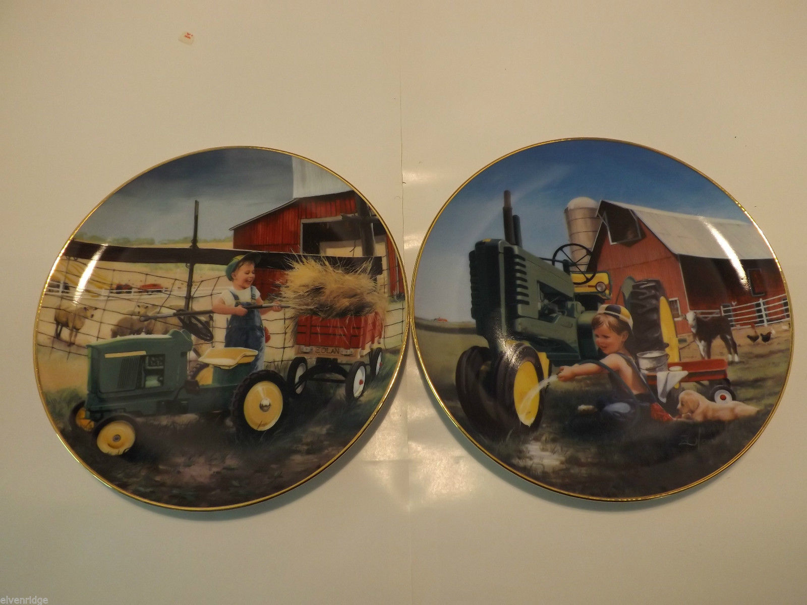 "Set of 2 Danbury Mint Collector's Plates ""Clean and Shiny"" and ""Pitching In"""