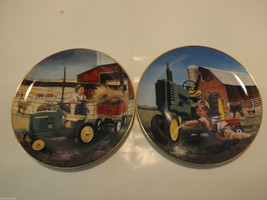 """Set of 2 Danbury Mint Collector's Plates """"Clean and Shiny"""" and """"Pitching In"""" image 1"""