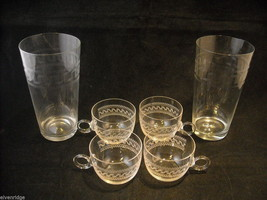 Set of 2 Pint Glass and 4 small punch glasses delicate copper wheel