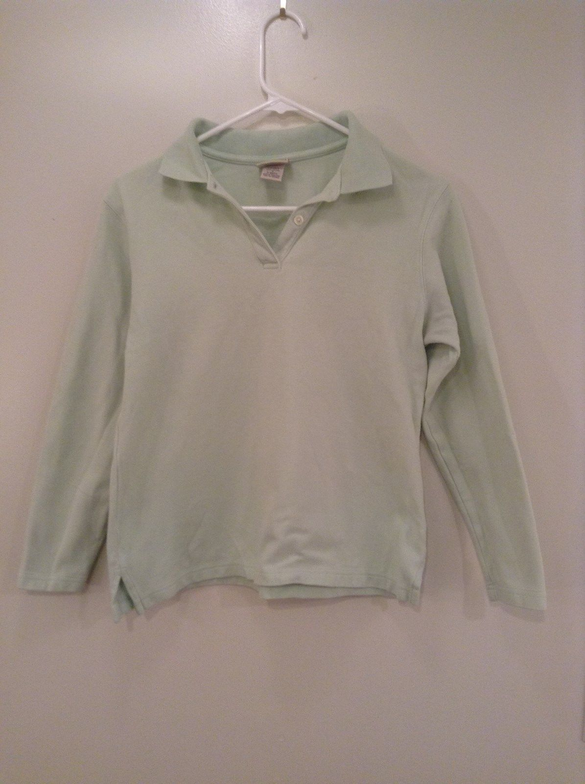 Sea Green L L Bean Long Sleeve 100 Percent Cotton Polo Shirt Size Small