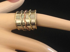 Multi Metal Tricolor Flexible Size Open Back Wide Statement Ring Size 7 Average image 2