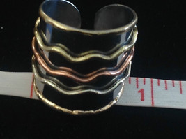 Multi Metal Tricolor Flexible Size Open Back Wide Statement Ring Size 7 Average image 6