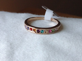 Multi Color CZ Stones Rose Gold Plated Ring Size 7.25 and 6.5 Sold Separately image 6