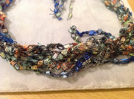 Multi Colored fabric threads necklace / headband / scarf with two green beads image 2