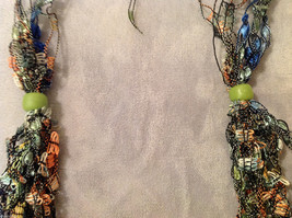 Multi Colored fabric threads necklace / headband / scarf with two green beads image 4