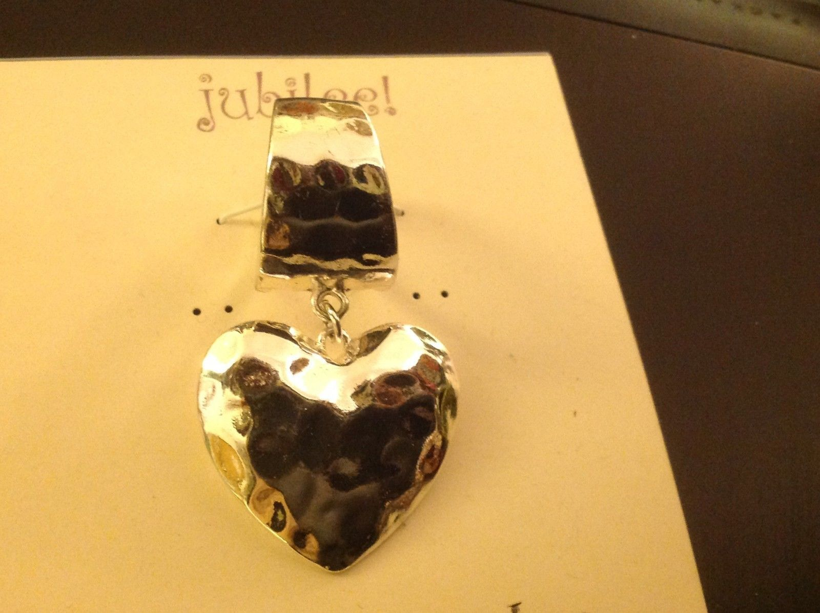 Scarf pendant hammered silver tone petite heart