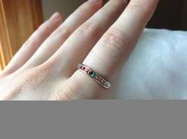 Multi Color CZ Stones Rose Gold Plated Ring Size 7.25 and 6.5 Sold Separately image 3