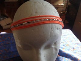 Multi band silver accent beads neon elastic fashion headband, 5 choice of colors image 3