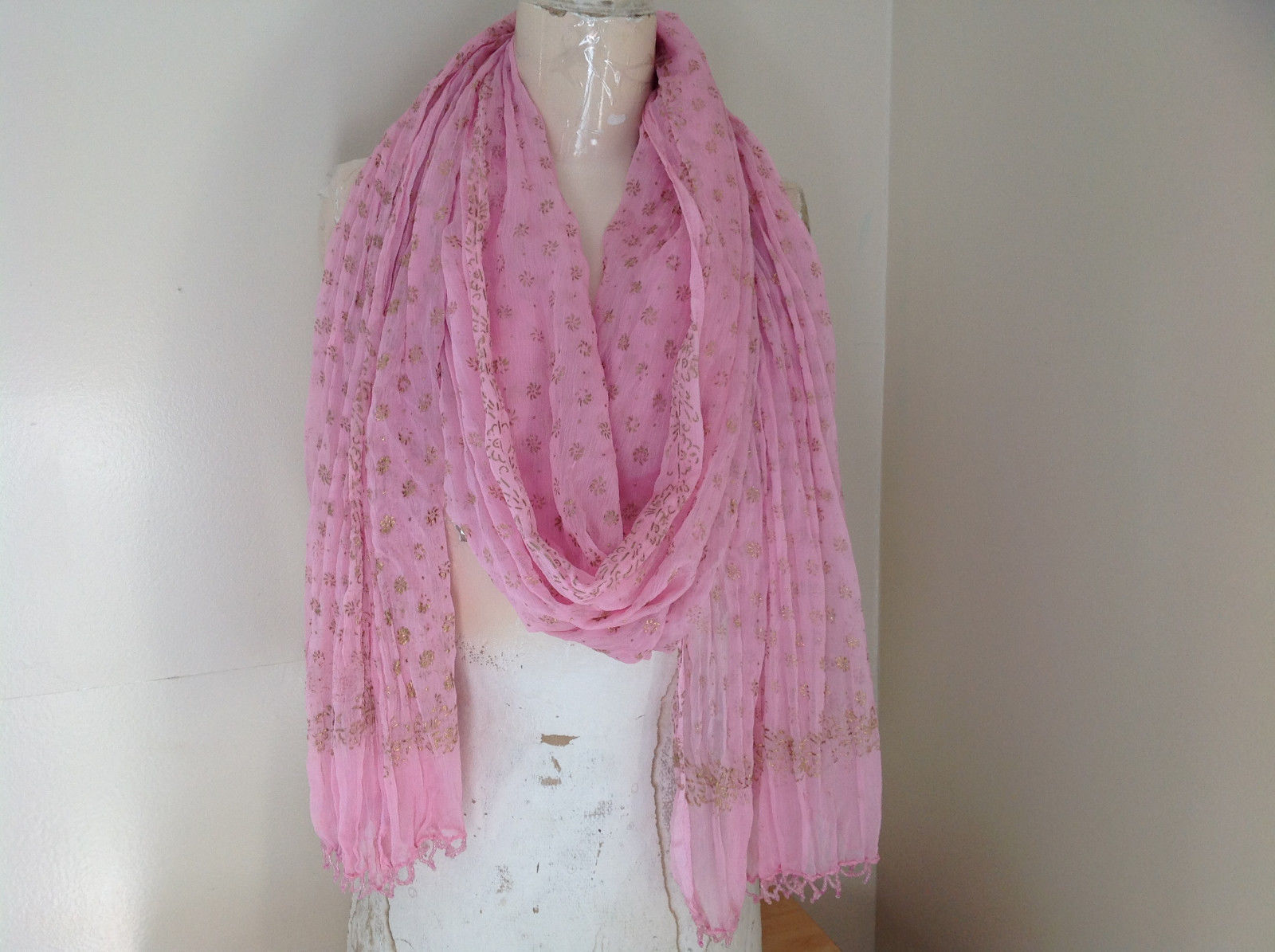 Scrunched Style Pink Real Gold Stamped Embossed Beaded Scarf Beaded Tassels