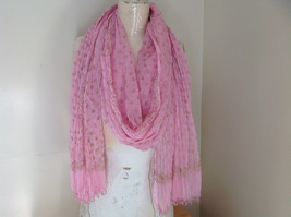 Scrunched Style Pink Real Gold Stamped Embossed Beaded Scarf Beaded Tassels image 1