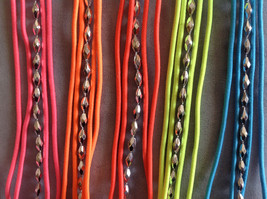 Multi band silver accent beads neon elastic fashion headband, 5 choice of colors image 8