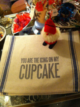 Set  2 Canvas Kitchen Towels Rustic with You are the Icing on my Cupcake saying