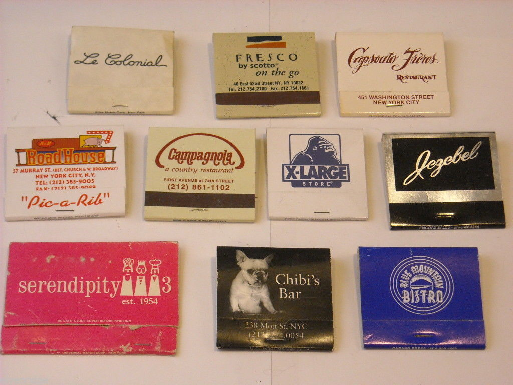 Set of 10 Matchbooks from NYC and Saugerties, NY