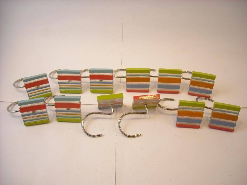 Set of 12 Shower Curtain Hooks Multi color striped