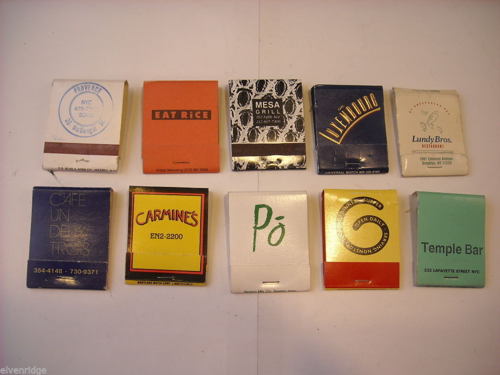 Set of 10 Matchbooks from NYC Restaurants