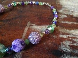 Multi Bead Green Purple Necklace Crystals Different Size Beads 17 Inches Long image 3