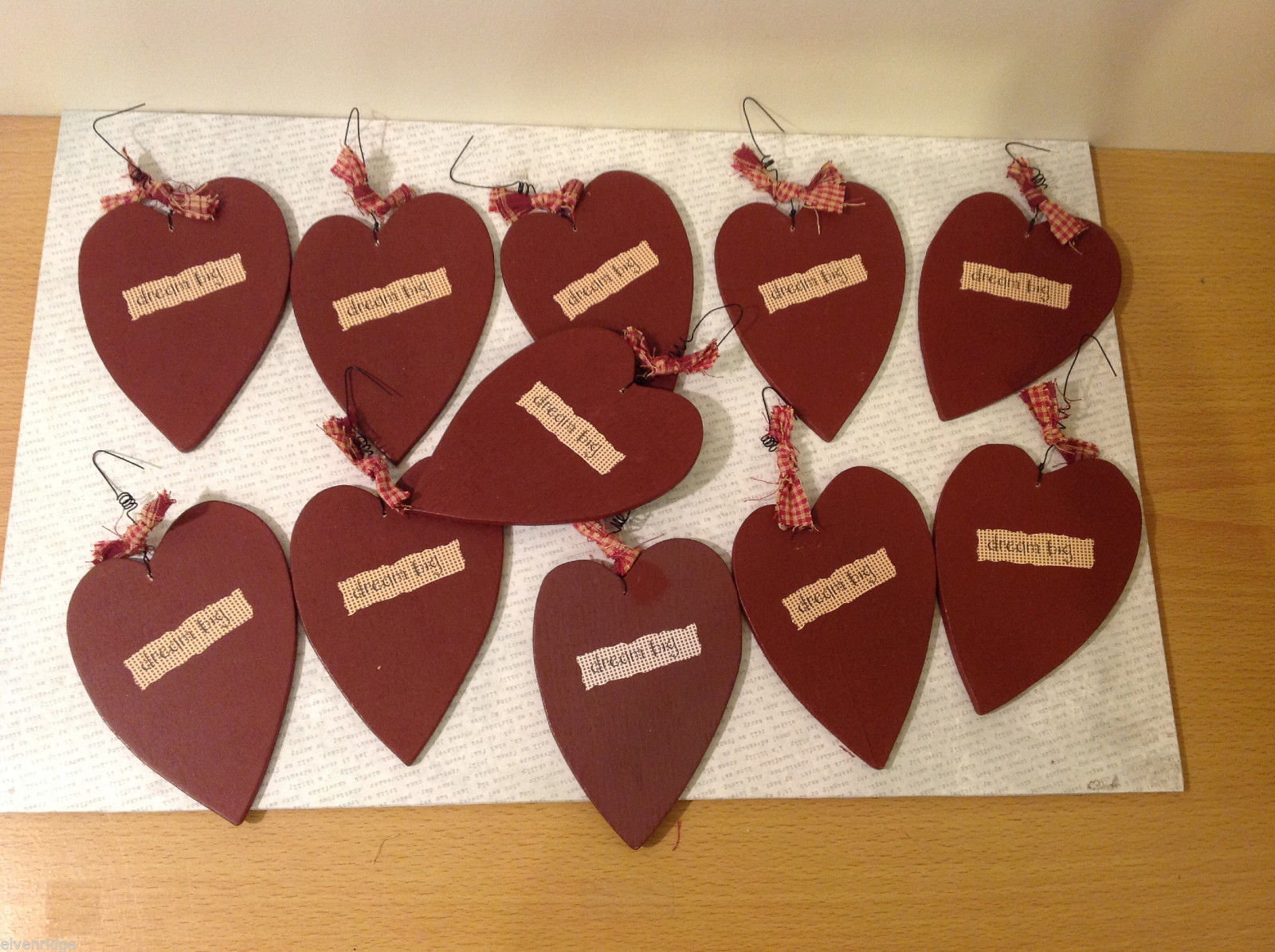 "Set of 11 Wooden Red Heart Tree Ornaments ""DREAM BIG"" with ribbons"