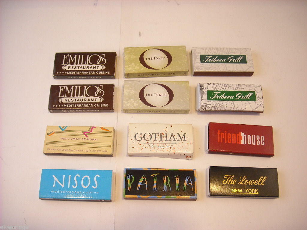 Set of 12 Thin Matchbooks from NYC Restaurants
