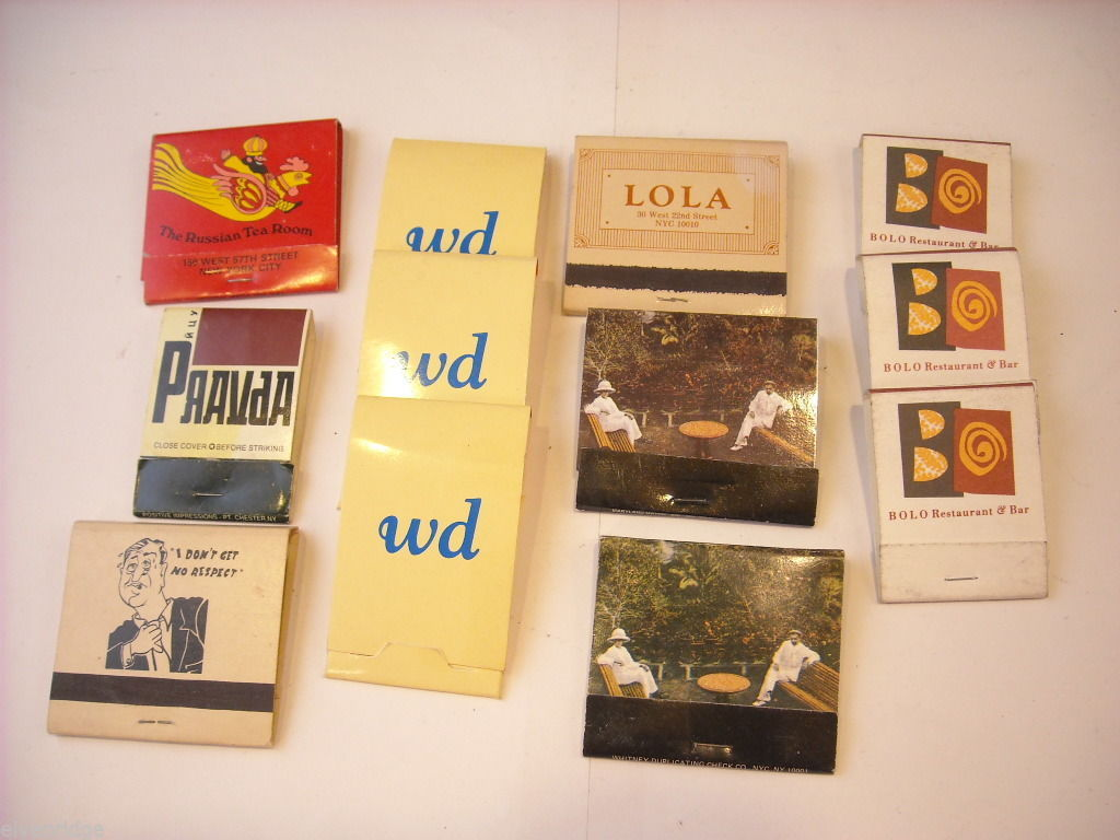 Set of 12 Toothpicks and Matchbooks from NYC Restaurants