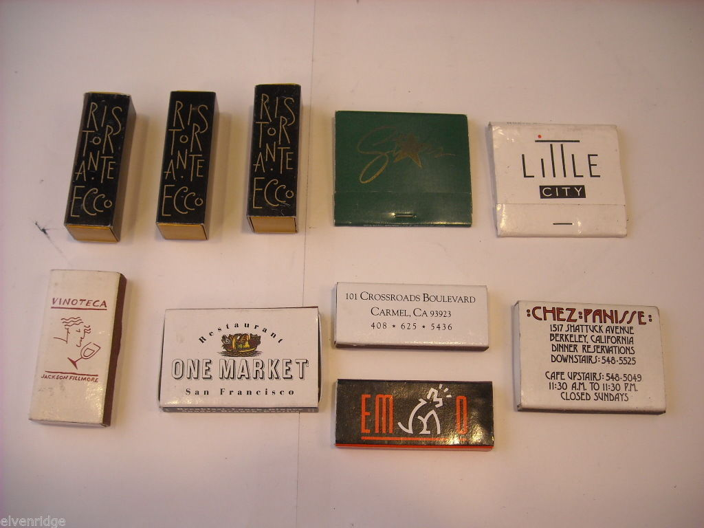 Set of 10 matchbooks or boxes from San Francisco Bay Area, Northern California