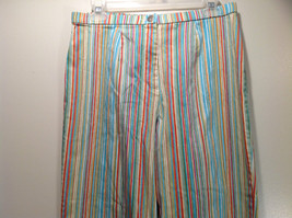 Multicolored Coldwater Creek Stretchy Waist Size 10 Striped Casual Pants image 2