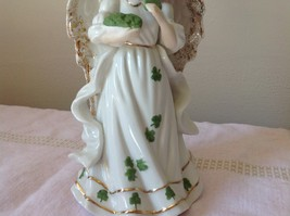 Music Box Angel White Angel Holding Clovers Gold Outlining by Raman Incorporated image 4