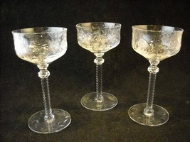 Set of 3 Fancy Cordial Stem Glasses engraved floral