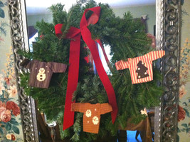 Set of 3 Rustic Plaid Striped Stitched appliqued Sweater Ornaments on hangers - $39.99