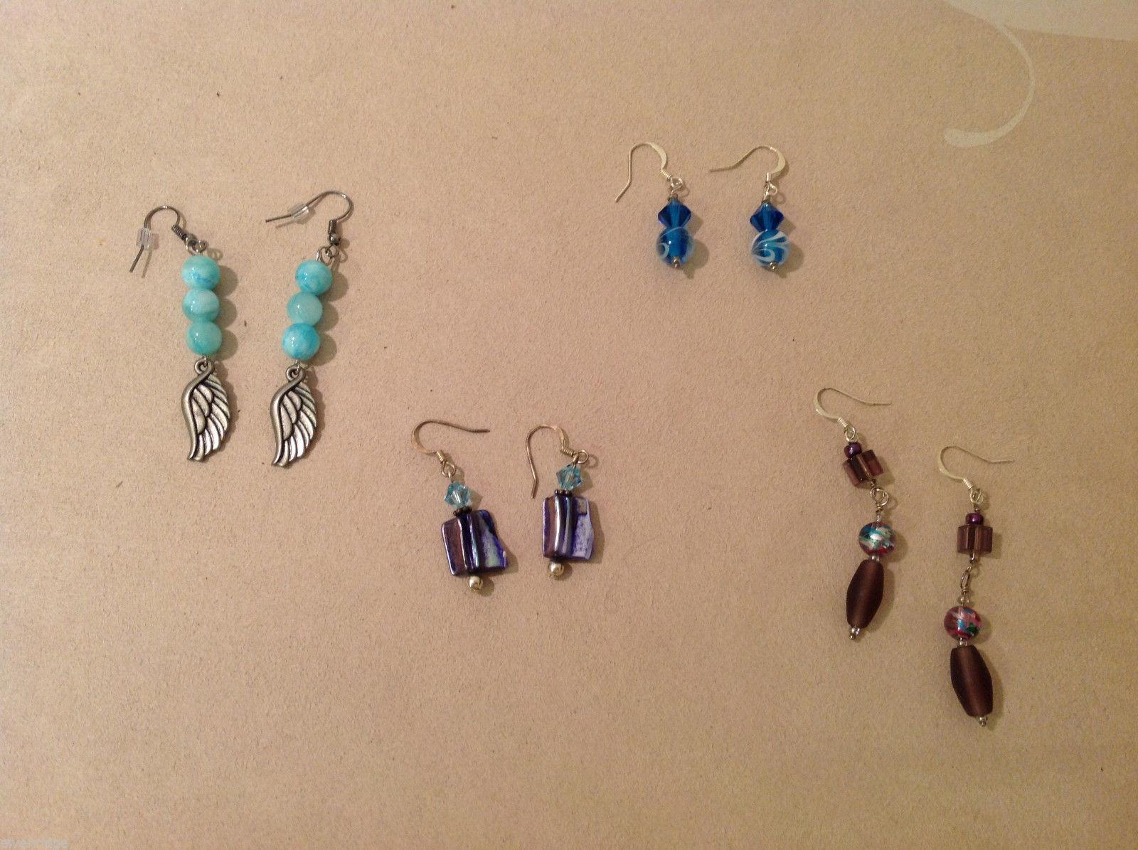 Set of 4 pairs Handmade Beaded Earrings