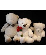 Set of 3 White Stuffed Bear Toys - $59.39