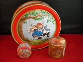 Set of 3 assorted vintage tins Teddy Raggedy Ann Coke