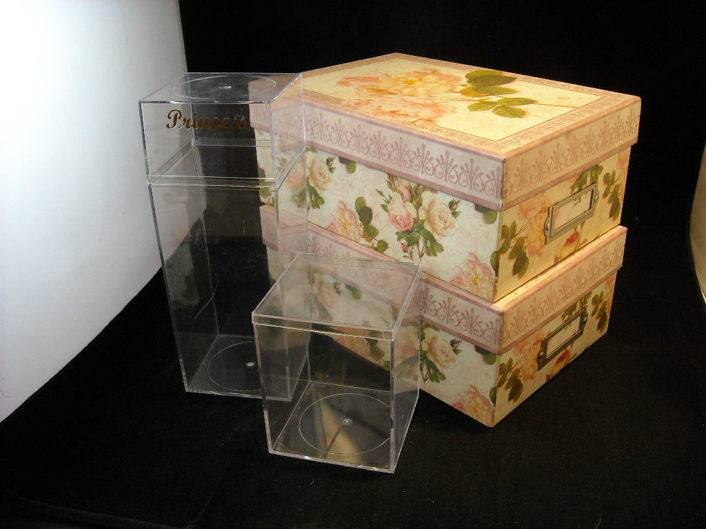 Set of 4 Storage Containers, 2 Clear Acrylic, and 2 Rose Designed
