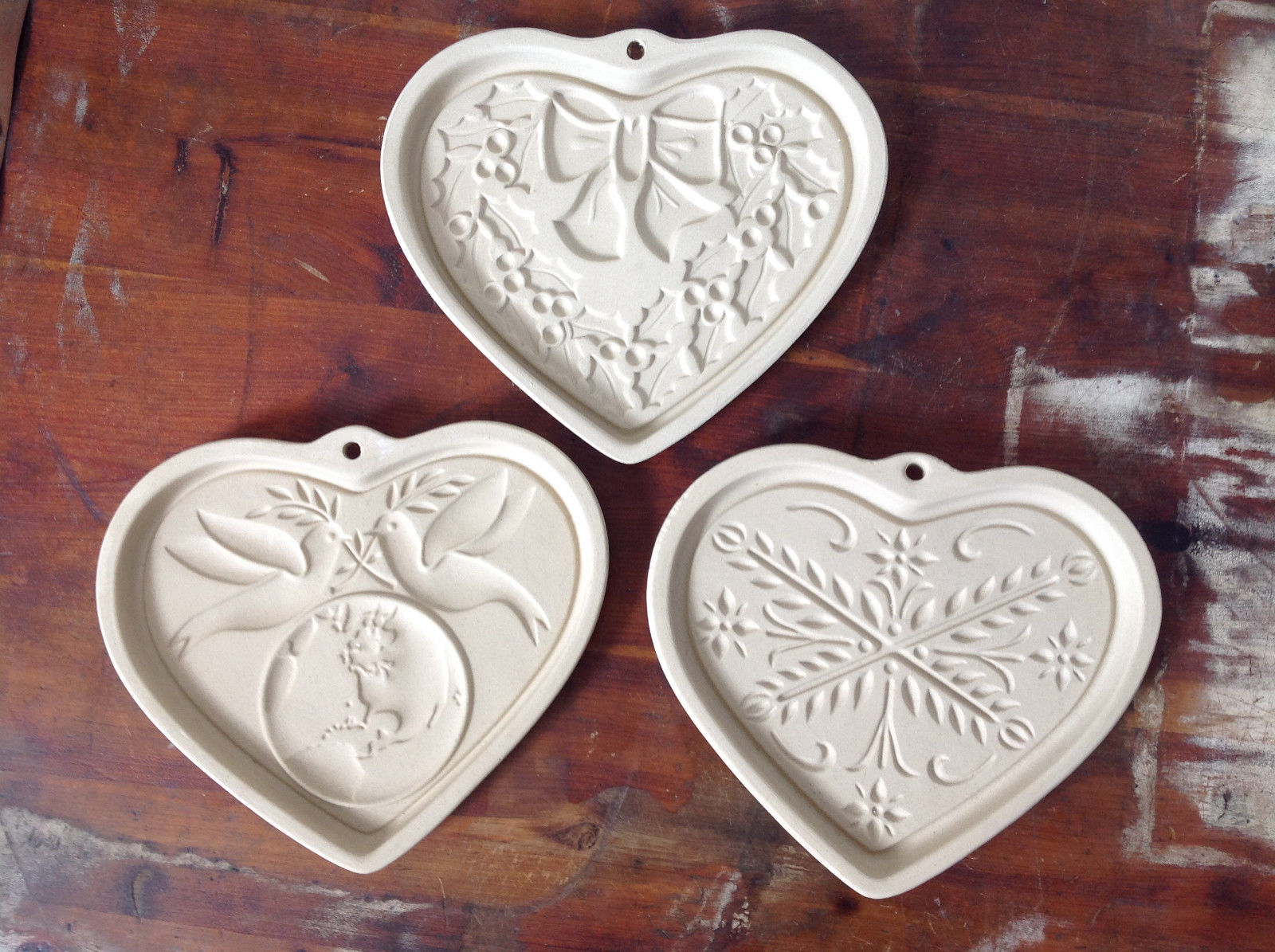 Set of 3 Heart Shaped Ceramic Cookie Press Plates Designs on Inside of Plates