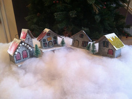 Set of 4 Little Ornament Winter Houses with glitter paint and snow