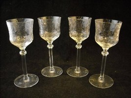 Set of 4 Fancy Cordial Stem Glasses copper wheel design