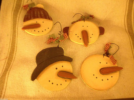 Set of 4 vintage image wood Snowman head ornaments carved with checked fabric