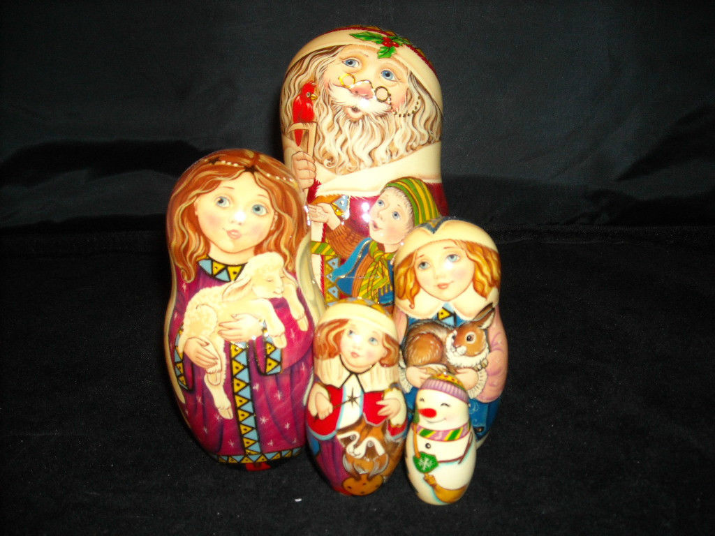 Set of 5 Hand Crafted Hand Painted Wooden Russian Nesting Dolls Christmas Images