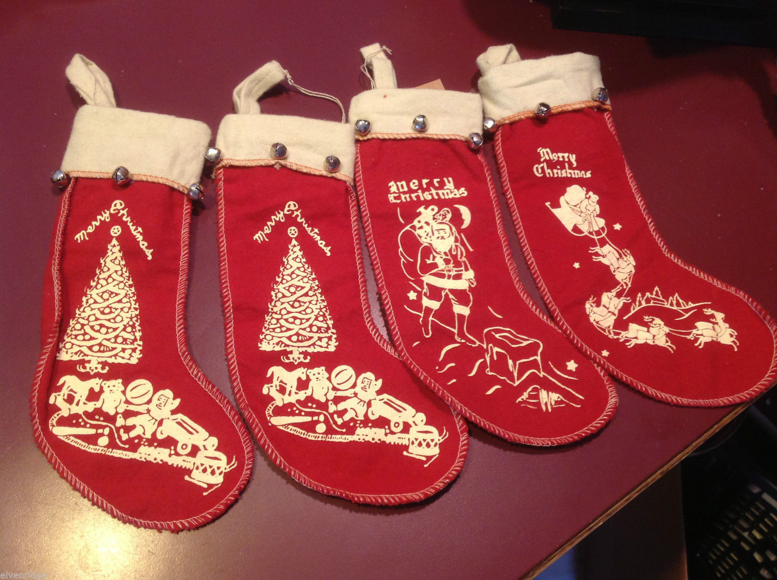 Set of 4 vintage look felt stocking w bells small Santa chimney reindeer tree