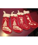 Set of 4 vintage look felt stocking w bells small Santa chimney reindeer... - $31.18