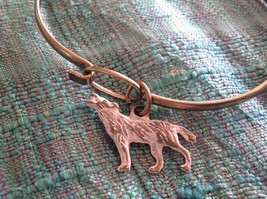 NEW bangle bracelet with Wolf Charm choice of color USA made  image 6